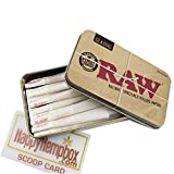 25 Raw 1 1/4 Size Organic Cones With Raw Tin Carrying Case with HHB Scoop Card