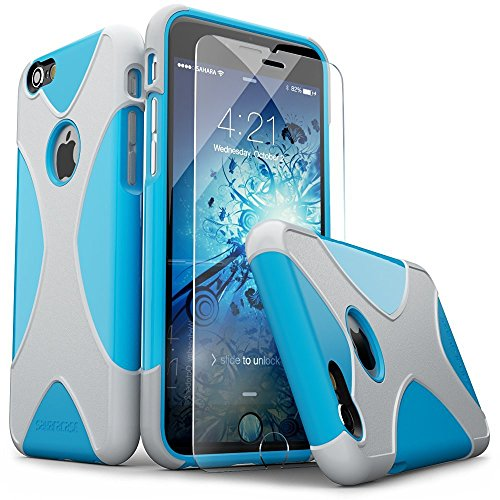 iPhone 6 Case, iPhone 6s Case, Blue Silver SaharaCase X-Case Protection Kit withBonus ZeroDamage Tempered Glass Screen Protector [120 Mix-Match Color Combinations] 3-Layer Protective Design