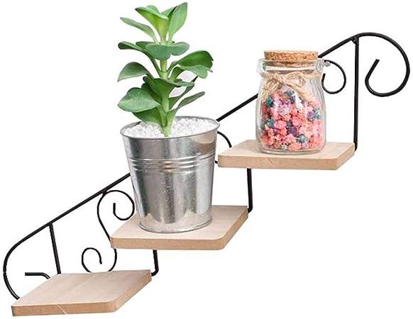 JPVGIA Macetero Escalera De 3 Niveles Flor Planta Maceta Estante Estante Estantes Para Colgar En La Pared Estantes Flotantes De Metal Sujetador De La Maceta Decoración Soporte Para Pantalla Jardín Int: Amazon.es: