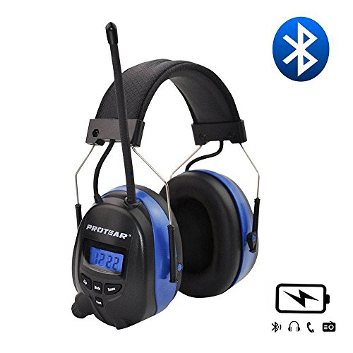 PROTEAR Wireless Bluetooth Headphones Over Ear, AM/FM Radio Safety Earmuffs, with Rechargeable Lithium Battery & Built-in Mic, NRR 25dB Noise Cancelling Ear Protector Outdoor Headphones for (Best 3m Over Ear Headphones)