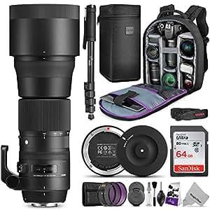 Sigma 150-600mm 5-6.3 Contemporary DG OS HSM Lens Nikon DSLR Cameras w/Sigma USB Dock & Advanced Photo Travel Bundle