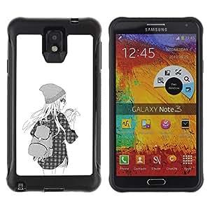 "Pulsar iFace Series Tpu silicona Carcasa Funda Case para SAMSUNG Galaxy Note 3 III / N9000 / N9005 , Hipster School Girl Moda Negro Blanco"""