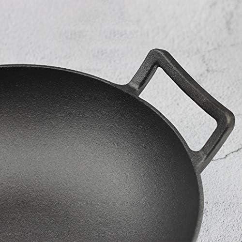 Wok noir anti-adhésif épais à double oreilles pour sauter, soupe, ragoût, wok en fer, gaz spécial (taille : 36,1 cm de long x 10,4 cm de haut)
