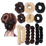 759Shop Hot Buns 2 Piece Magic Hair Styling Styler Twist Ring Former Shaper Doughnut Donut Chignon Bun Maker Clip Hair Curler Accessory Small & Large (Black+L.Blonde+D.Brown)