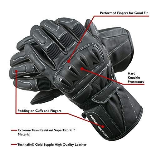 Prima Victory Polaris Leather Touring Gloves for Men with Reinforced Heel and Hard Knuckle Protectors (X-Large)