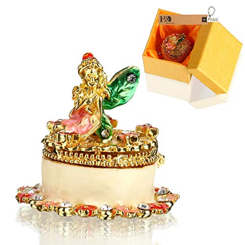 Small Jewelry Trinket Box Hinged Cake Figurines with Angel Jeweled Box Collectible Gifts for Girl