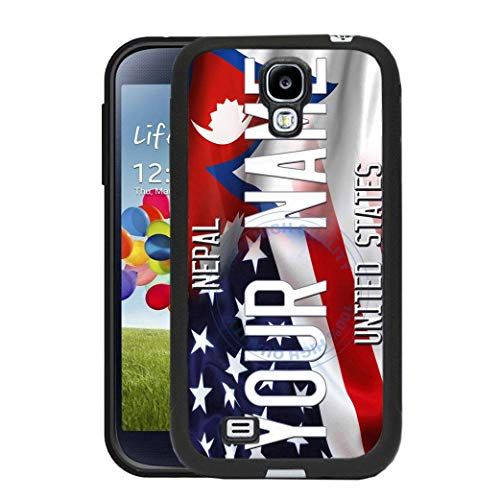 BRGiftShop Personalize Your Own Mixed USA and Nepal Flag Rubber Phone Case For Samsung Galaxy S4