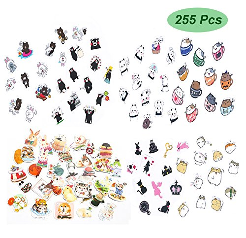 Planner Stickers 255pcs Variety Funny Animals - Super Cute Cat Bear Rabbit and More Decorative Sticker Collection for Scrapbooking,Calendars,DIY Crafts,Album,Bullet Journals,School Office Stationery (School Sticker Collection)