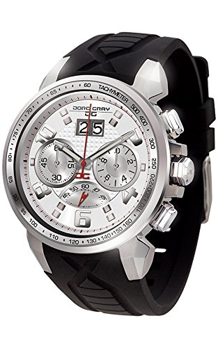 Jorg Gray JG5600-24 Men's Watch Chronograph Silver Dial With Integrated Black Silicone Strap