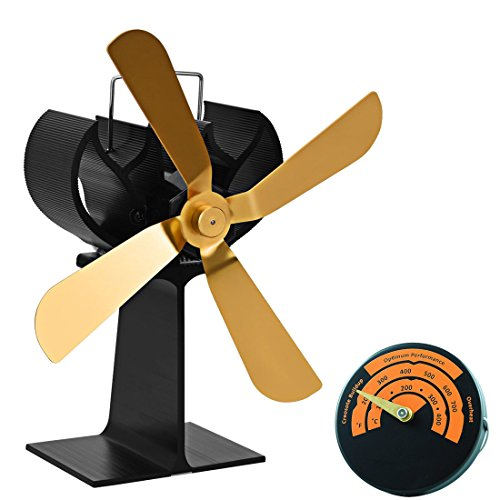 2017 New Designed 4-Blades Large Heat Powered Stove Fan with Magnetic Thermometer Aluminium Silent Eco-friendly Fireplace Wood Burning StoveFan for Wood/Log Burner/Fireplace- Eco Friendly(Gold) (Log Burners Wood Sale For)