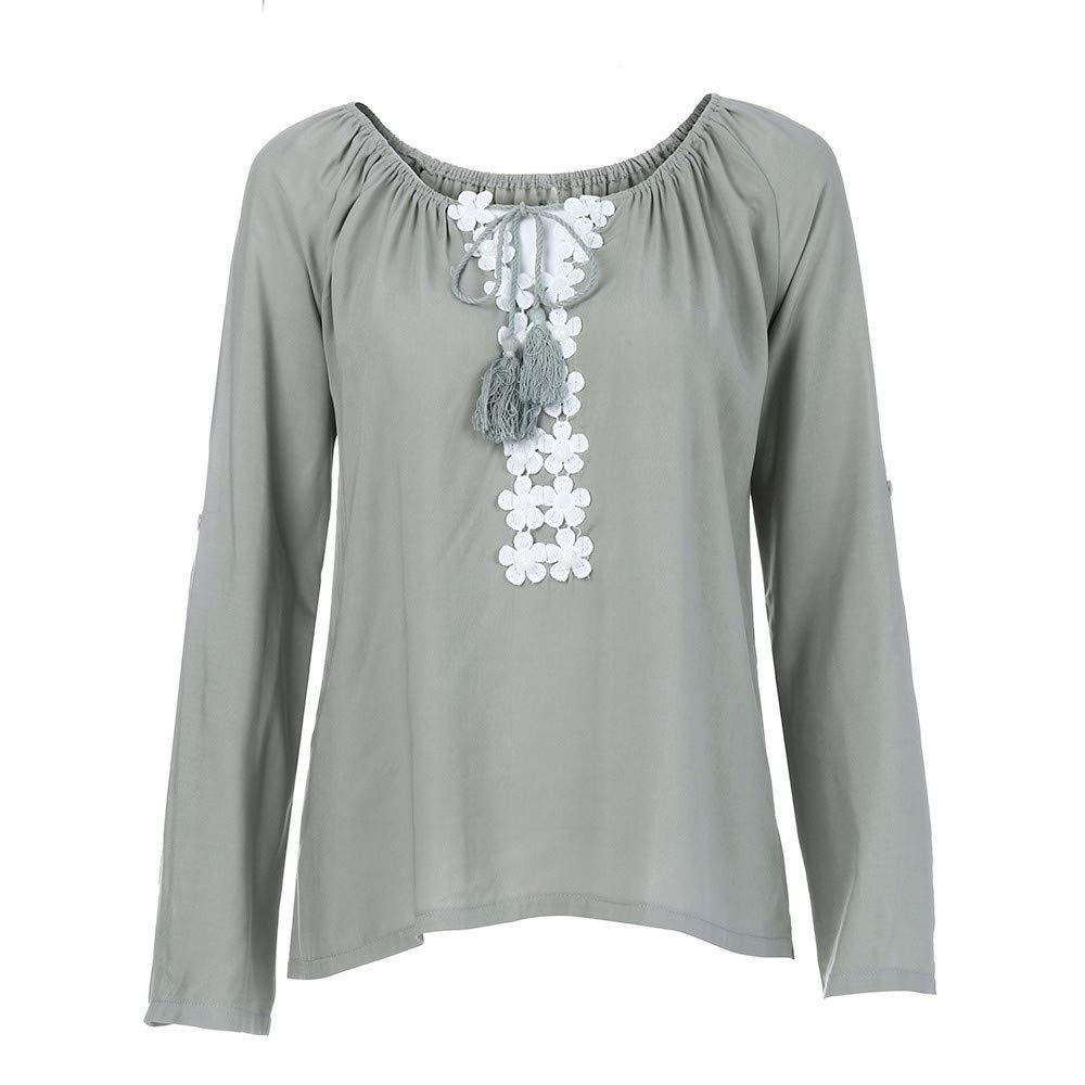JURTEE Damen Herbst Oberteile V-Ausschnitt Langarm Blumen Spitze Spleißen T-Shirt Tops Bluse
