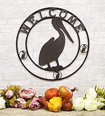 """Ebros Gift Oversized 24"""" Wide Vintage Rustic Louisiana Pelican Bird Symbol With Welcome Sign Braided Metal Aluminum Circle Wall Decor 3D Art Greeting Plaque Western Country Decorative For Gates Fences"""