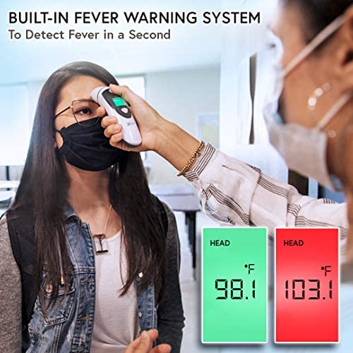 51l%2BjmqbkTL. AC - IProven Thermometer For Adults Forehead And Ear - Fever Alarm, 1 Second Reading, Color Temperature Indicator, 20 Readings Memory Recall, Medical Thermometer For Adults Kids And Babies - DMT-489