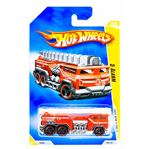 Cheap Hot Wheels 2009 New Models 5 Alarm Red Fire Truck Engine with Ladder