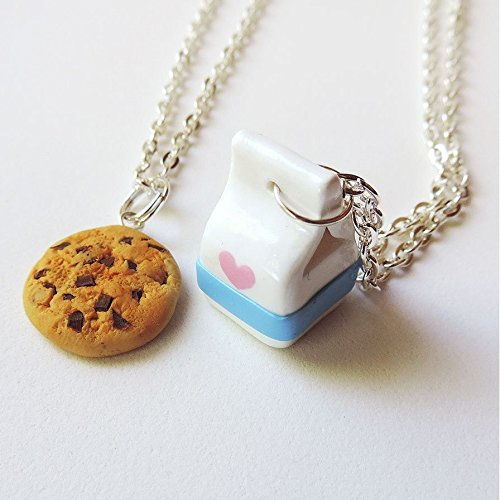 Handmade Milk and Cookies Best Friends Necklaces Made of Polymer Clay