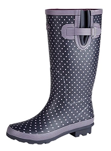 Dot WIDE Comfort Calf Wellies Wellington Insoles Navy Ladies Extra Plus Memory Boots Foam Polka OqRdxf04