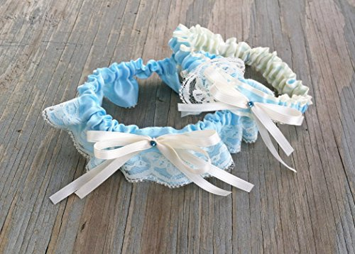 Vintage Ivory Lace & Light Blue Satin Rhinestone Embellished Wedding Bridal Garter Garter SET