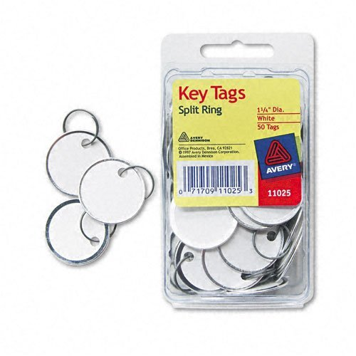 Avery : Metal Rim Key Tags, Card Stock/Metal, White, 50 per Pack -:- Sold as 2 Packs of - 50 - / - Total of 100 Each (Rim White Metal)