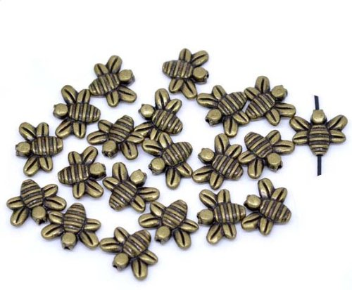Rockin Beads Brand, 48 Antiqued Brass/gold Plated Casted Bee Beads 14x12mm with 1mm Hole Zinc Metal Spacers -