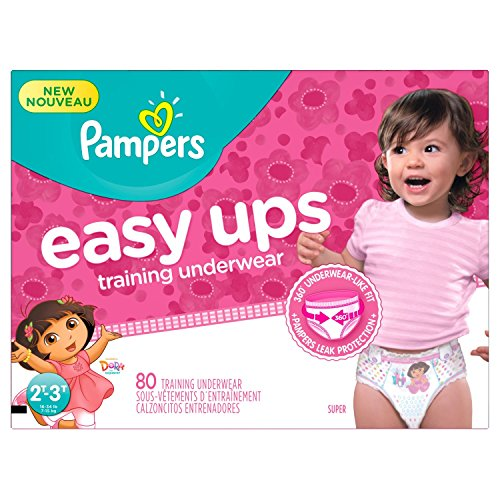Pampers Easy Ups Pull On Disposable Training Diaper for Girls, Size 4 (2T-3T), Super Pack, 80 Count by Pampers