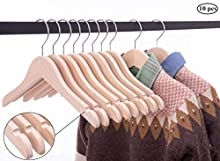 Cocomaya Pack of 10 Wooden Kids Baby Children Toddler Hanger Coats Clothes Hanger with 360 Swivel Hook (12.6 Inch Natural Unfinished Color)