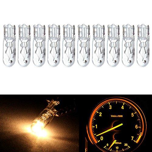 cciyu 10 pcs T5 17 86 206 White Halogen Light Bulb Instrument Cluster Gauge Dash Lamp 12V