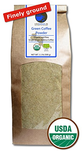 Green Coffee Powder organic, 100% pure and natural (finely ground, - Organic Green Beans Bulk