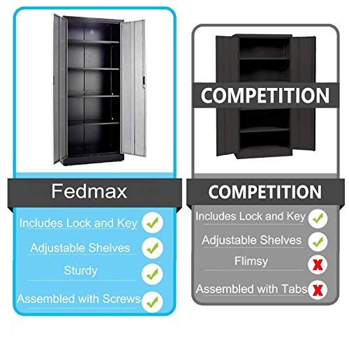 Steel Storage Cabinet 71'' Tall, Lockable Doors and Adjustable Shelves, (Choose Color) 70.86'' Tall x 31.5'' W x 15.75'' D, by Fedmax. (Black) by Fedmax (Image #1)