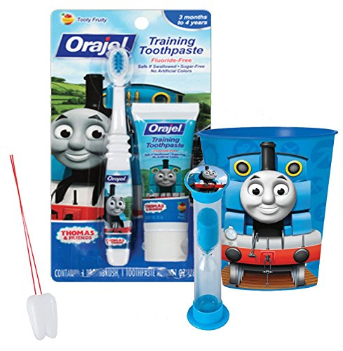 "Price comparison product image Thomas the Tank Engine Inspired 4pc Bright Smile Oral Hygiene Set! Thomas Toothbrush, Toothpaste, Brushing Timer & Mouthwash Rinse Cup! Plus Bonus ""Remember to Brush"" Visual Aid"