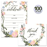 All Occasion Invites ( 100 ) & Thank You Cards ( 100 ) Matched Set with Envelopes Large Celebration Birthday Bridal Shower Grad Party Fill-in-Style Invitations & Folded Thank You Notes Best Value Pair