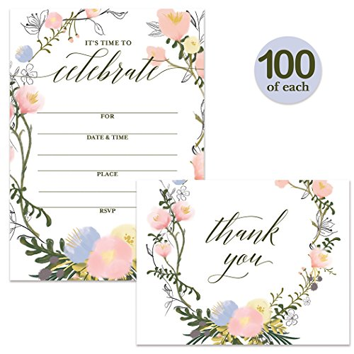 All Occasion Invites ( 100 ) & Thank You Cards ( 100 ) Matched Set with Envelopes Large Celebration Birthday Bridal Shower Grad Party Fill-in-Style Invitations & Folded Thank You Notes Best Value Pair by Digibuddha