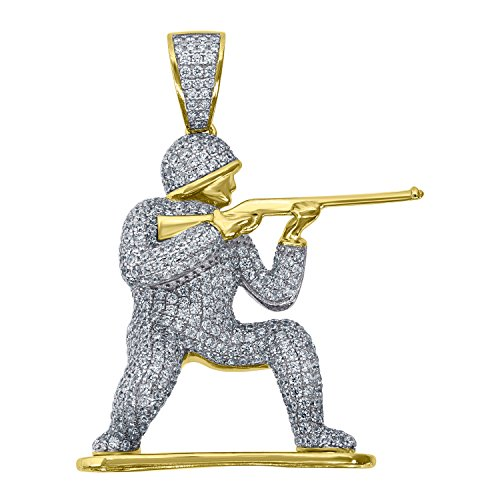 Jewels By Lux Yellow-tone Sterling Silver Mens Round Cubic Zirconia CZ Soldier Cluster Charm Pendant Set With The Highest Quality Cubic Zirconia. (Round Prong Set Cluster Pendant)