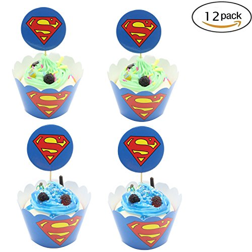Cupcake Toppers Wrappers Birthday Party Supplies,Superman Cake Decoration Baby Shower for for Kids Birthday Party -Set of 12 ()