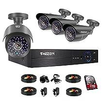 TMEZON 4CH 1080P AHD DVR Video Surveillance System + 4 Pcs Waterproof Outdoor HD 2000TVL 2.0MP 1080P Bullet Cameras Home Security Kit (1TB HDD)
