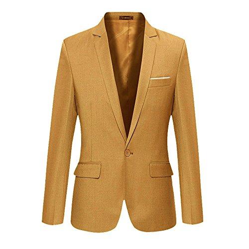 VOBAGA Men's Slim Fit Casual One Button Suit Blazers Khaki 4XL