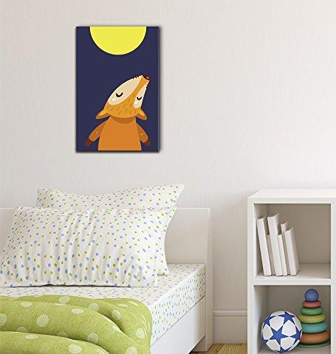 Cartoon Fox Howling Towards The Full Moon