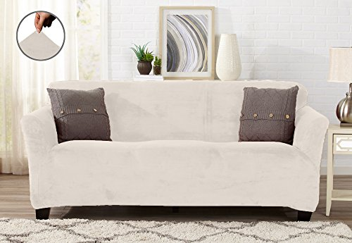 Great Bay Home Modern Velvet Plush Strapless Slipcover Form Fit Stretch Stylish