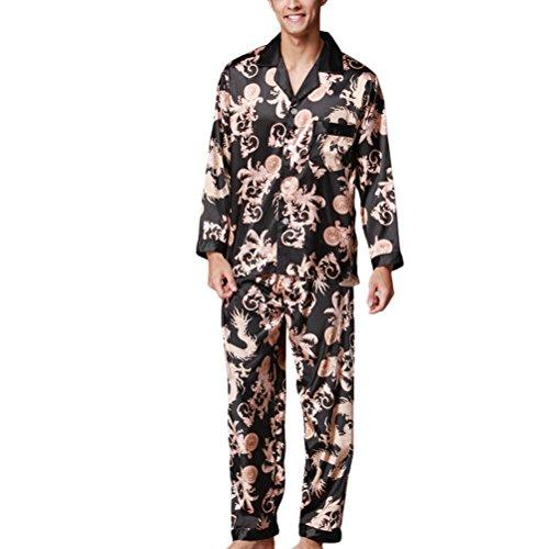 YT16QTZ070 Sleepwear Satin Fashion Men's Zhhlaixing Nightdress Black Sets Pyjama O5TRw5Zfq
