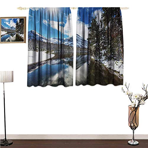 homehot Valance Curtains Winter,Tranquil View of Glacier National Park in Montana Water Reflection Peaceful,Brown Blue White Blackout Window Treatment W55 x G39