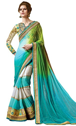 Gorgeous Lehenga Saree (INMONARCH Womens Gorgeous Soft Net Saree SRD0304SC Stitched Blue)
