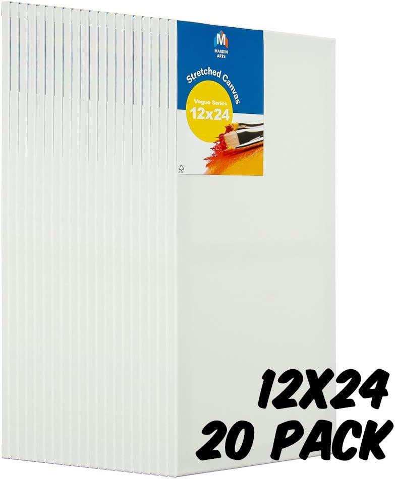 Markin Arts Vogue スウェーデン パインウッド 酸/変色フリー コットン100% 中重量 10オンス トリプルチタンアクリル ゲッソ 下塗り済み 縦横アート ストレッチキャンバス油絵 12x24インチ 20-Pack ホワイト CVV-1224-20P