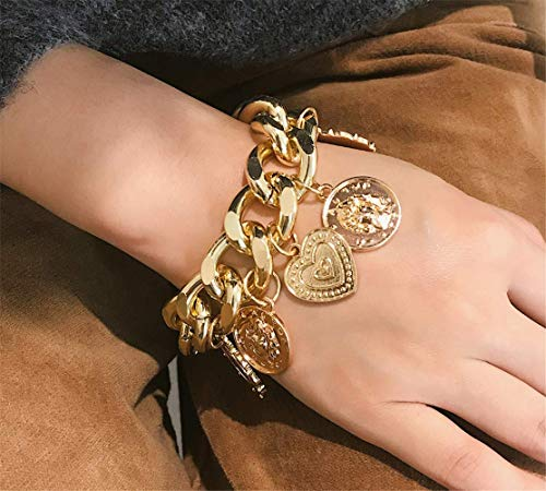 P.Phoebus 18K Yellow Gold Plated Vintage Coins Bangle Bracelet White Swarovski Crystal Rhinestone Charms Pendant for Women Girls (8)