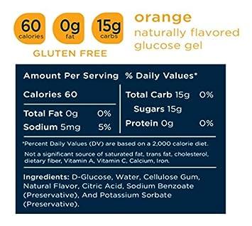 TRANSCEND Orange-Flavored Glucose Gels – 15gram packets 12