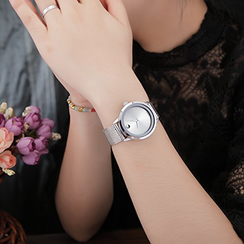 Amazon.com: Reloj De Mujer Moda Fashion Relojes de Mujer Plateados Women Quartz Stainless Steel Band RE0072: Watches