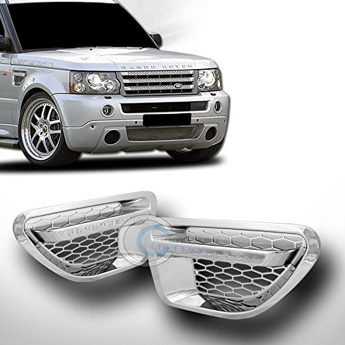 (AutobotUSA Chrome/Silver Finished Side Fender Honeycomb Mesh Air Vent Grill Grille Cover for Rover Range Sport L320 2006-2009 Models)