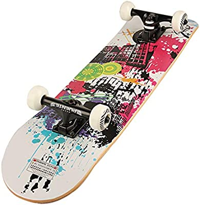 ZH Skateboarding Scooter patín de Cuatro Ruedas de Doble Herida Maple Travel Road Brush Street Board Scooter Profesional para Adultos A