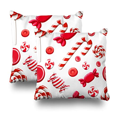 Geericy Set of 2 Decorative Throw Pillow Covers Red Candy Candy Cane Lollipop Wrapper White and Mobile Candy Birthday Brown Cushion Cover 18X18 Inch for Bedroom Sofa