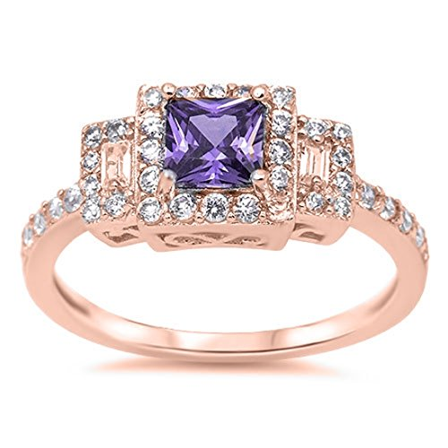 Cut Pink Amethyst Ring (Rose Tone Plated 925 Sterling Silver Princess Cut Simulated Amethyst Cubic Zirconia Engagement Ring)