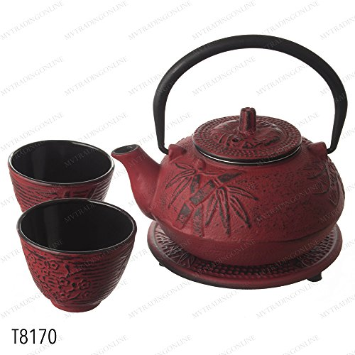 Red Tetsubin Tea Set Teapot (M.V. Trading New Star International T8170 Cast Iron Bamboo Tea Set with Trivet, 21 oz, Red)