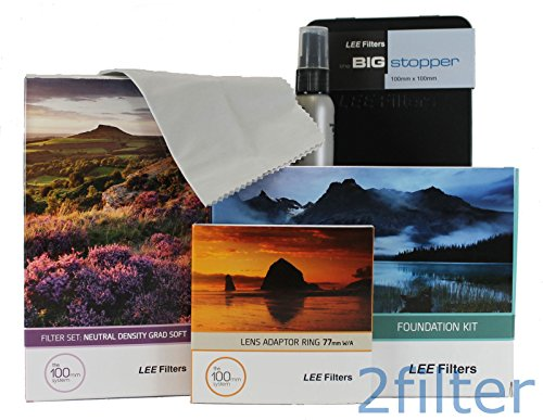 Lee Filters 77mm Landscape Starter Kit 1 - Lee Foundation Kit, 77mm Wide Angle Ring, Lee 4x6 Grad ND Soft Edge Set and 4x4 Big Stopper with 2filter cleaning kit (Lee Big Stopper Nd Filter Kit compare prices)